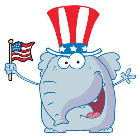 Elephant Waving An American Flag Vector