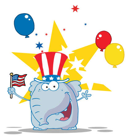 pachyderm: Patriotic Elephant Waving An American Flag On Independence Day