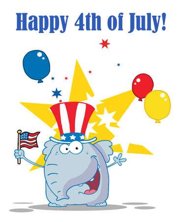 Patriotic Elephant Waving An American Flag Vector