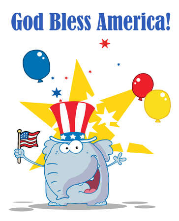 Elephant Waving An American Flag On Independence Day Vector