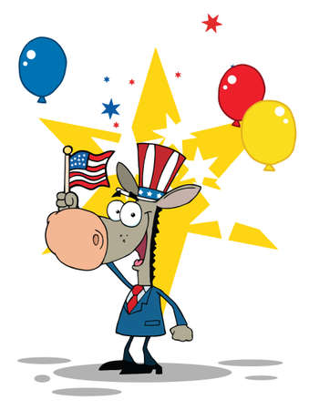 Donkey Waving An American Flag On Independence Day Vector