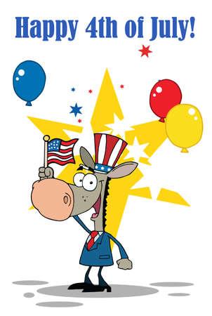 Patriotic Donkey Waving An American Flag Vector