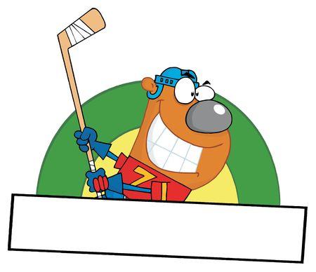 Cartoon Sporty Bear Playing Ice Hockey
