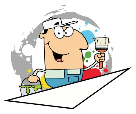 Cartoon Painter Man Holding A Pail And Paintbrush Vector