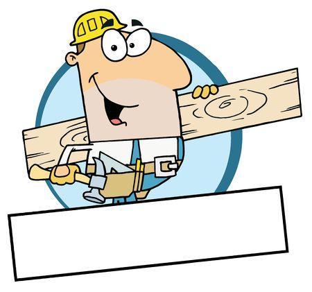 handy man: Cartoon mascotte-Construction Worker trasporto A bordo legno  Vettoriali