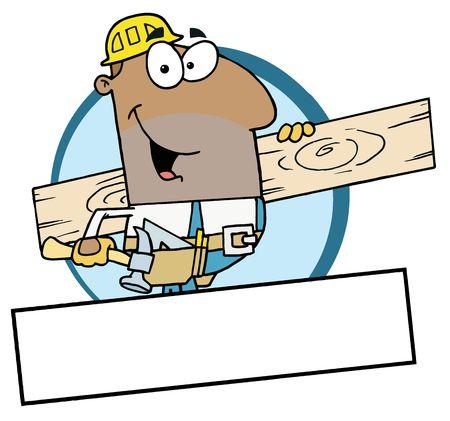 木の板を運ぶ漫画マスコット アフリカ系アメリカ人の建設労働者