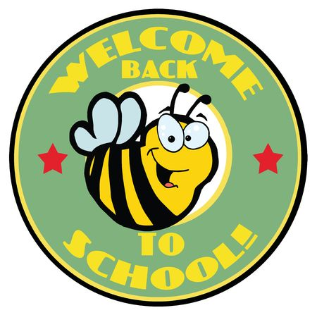 Cartoon Mascot-Bee With Text Back to School! Vector