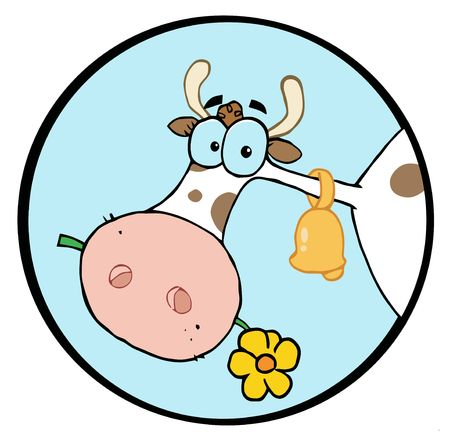 Clipart-Farm Cow Head Chewing On A Flower Vector