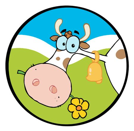 llustration-Farm Cow Head Chewing On A Flower Stock Vector - 6792561