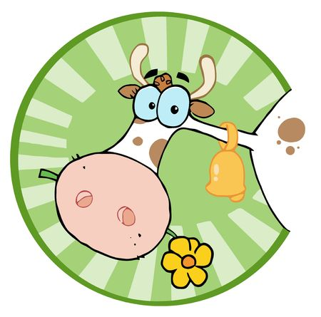 Clipart Illustration-Farm Cow Head Chewing On A Flower