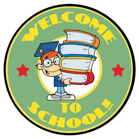 school: Cartoon Logo Mascot-Student With Text Welcome to School!