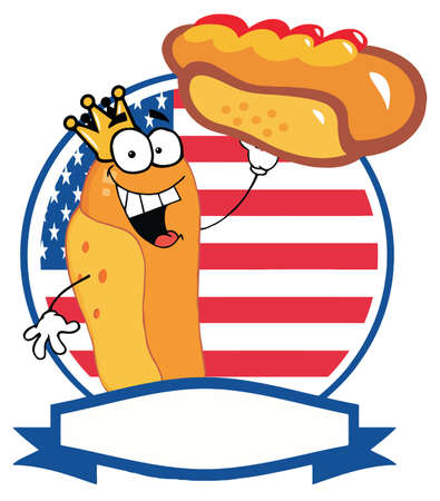 hot dog:  King Hot Dog Showing XXL Hot Dog In Front Of Flag Of USA