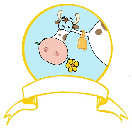 Logo Mascot-Farm Cow Head Chewing On A Flower Illustration
