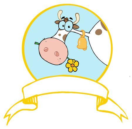 Logo mascotte ferme Cow Head mâchouiller une fleur Banque d'images - 6792593