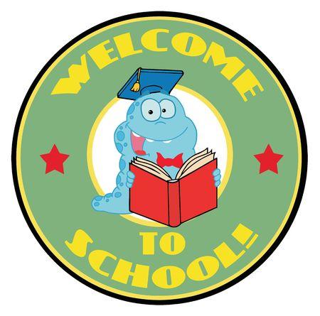 bücherwurm: Karikatur-Logo Maskottchen-Student Bookworm WithText Willkommen Schule!