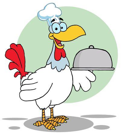Rooster Bird Chef Serving A Platter