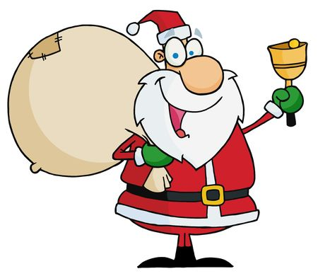 toy sack: El Jolly de Navidad Santa Waving A Bell Y con su juguete saco Vectores