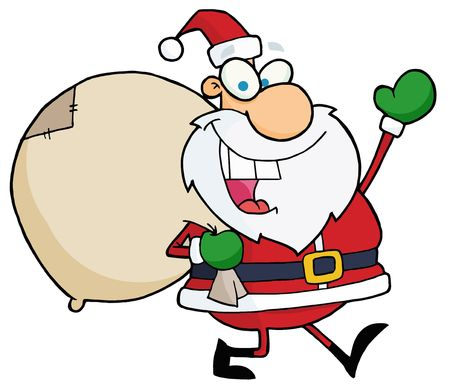 clip art santa claus: Jolly Christmas Santa Waving And Walking With His Toy Sack Illustration