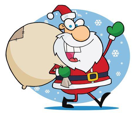 toy sack: El Jolly Waving Santa Navidad Y transporte su saqueo de juguetes en la nieve  Vectores