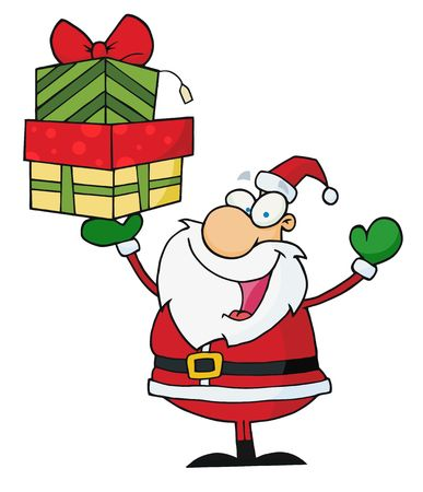 nick: Jolly Christmas Santa Holding Up A Stack Of Gifts Illustration