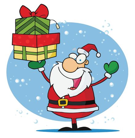 saint nick: Jolly Christmas Santa Holding Up A pila di presents in neve