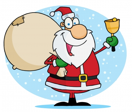 Jolly Christmas Santa Ringing A Bell And Carrying His Toy Sack Ilustracja