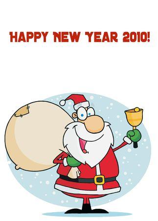 toy sack: Feliz a�o nuevo 2010 felicitaci�n con Santa se�al de llamada A Bell Y un saco de transporte  Vectores