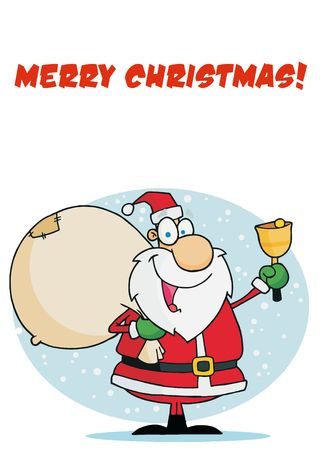 toy sack: Merry Christmas Greeting With Santa Ringing A Bell And Carrying A Sack Illustration