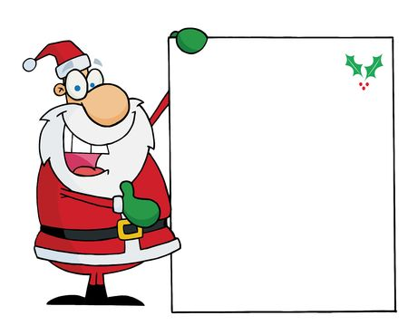 Jolly Christmas Santa Presenting A Blank Sign With A Holly Corner Vector