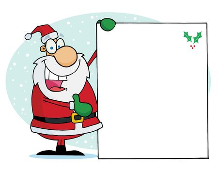 clip art santa claus: Jolly Christmas Santa Holding Up A Blank Sign In The Snow