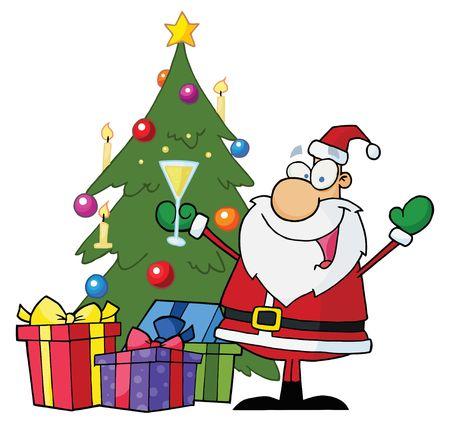 cartoons designs: Jolly Santa Natale bevendo champagne e permanente in A Tree  Vettoriali