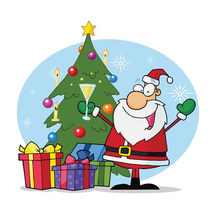 Jolly Christmas Santa Drinking Champagne By A Tree And Presents Vector