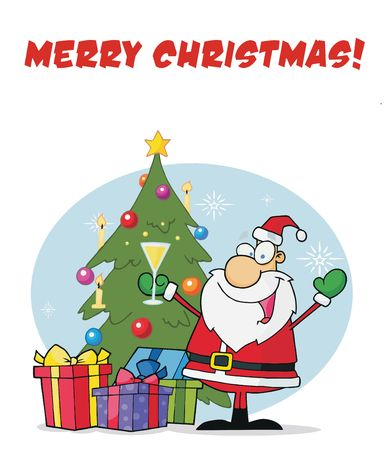 x mas party: Merry Christmas Greeting With Santa Drinking Bubbly By A Christmas Tree Illustration