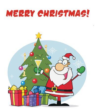 saint nick: Merry Christmas saluto con Santa bevendo champagne da un albero di Natale Vettoriali