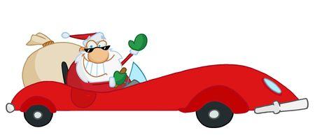 saint nick: Jolly Santa Natale agitando e guida il suo rosso sport auto  Vettoriali