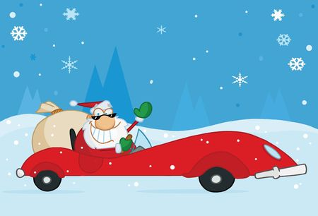 Jolly Christmas Santa Waving And Driving His Convertible Red Sports Car In The Snow Vector