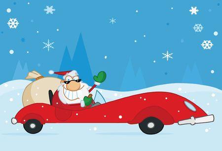 pere noel: Jolly onduler Santa de No�l et la conduite de ses voitures de sport rouge convertibles dans la neige.