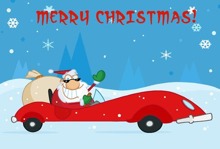 kris kringle: Merry Christmas Greeting With Santa Driving His Red Sports Car In The Snow