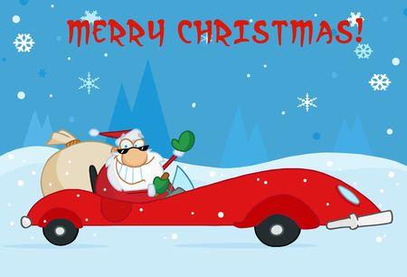 Merry Christmas wens met Santa zijn rode sport auto rijden in de sneeuw