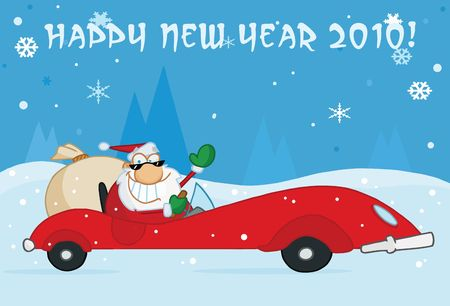 toy sack: Happy New Year 2010 Greeting With Santa Driving His Red Sports Car In The Snow Illustration
