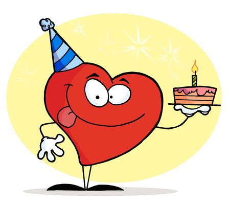 cartoony: Red Heart Character Wearing A Hat And Holding A Birthday Cake