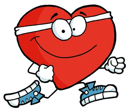 health cartoons: Healthy Red Heart Running Past