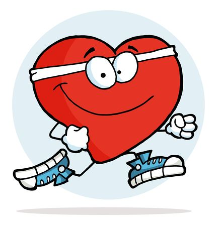 health cartoons: Healthy Red Heart Jogging Past Illustration
