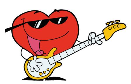 playing the guitar:  Romantic Red Heart Man Playing A Guitar And Singing