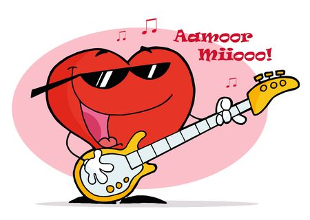 Musical Heart Character With Notes, Singing And Playing A Guitar Stock Vector - 6906119
