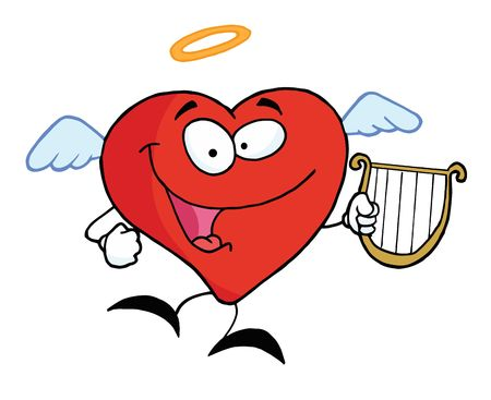 angel flying:  Red Heart Angel Flying With A Lyre