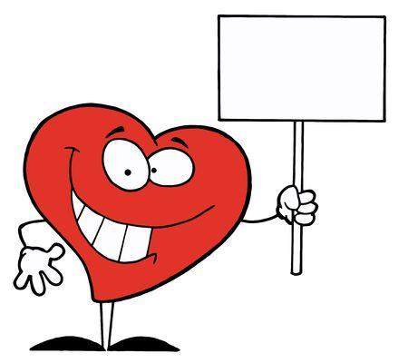 Amistoso carácter de corazón, holding de un signo de blanco en blanco