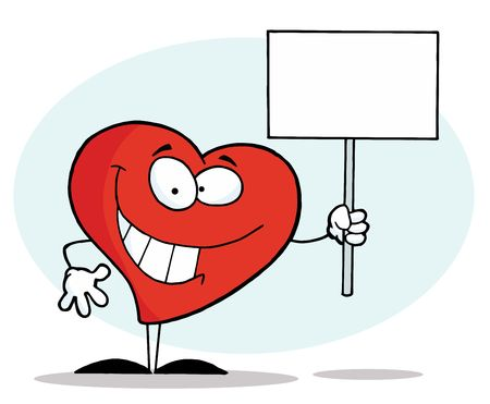 Grinning Heart Character Holding A Blank White Sign Vector