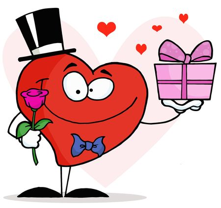 courtship:  Romantic Gentleman Heart Holding A Single Rose