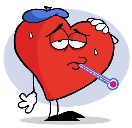 thermometer: Flu Ridden Red Heart